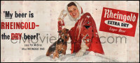7d014 RHEINGOLD LAGER BEER billboard 1948 great image of pretty girl in the snow with cute puppy!