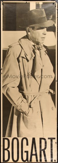 7d098 HUMPHREY BOGART 27x76 commercial poster 1979 wearing classic fedora and trench coat!