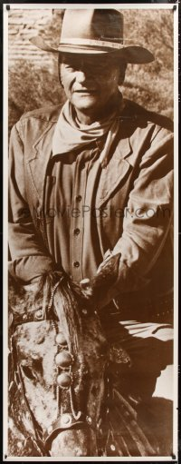 7d101 JOHN WAYNE sepia style 27x69 commercial poster 1970s cool close-up cowboy western image!