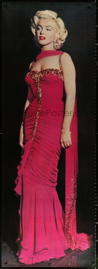 7d104 MARILYN MONROE 26x74 commercial poster 1987 sexy full-length image in fabulous pink dress!