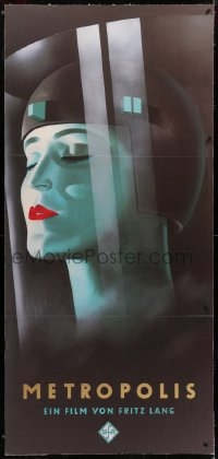 7d039 METROPOLIS 33x71 German commercial poster 1990s Fritz Lang classic, cool Werner Graul art!