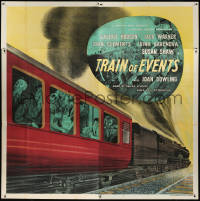 7d030 TRAIN OF EVENTS English 6sh 1949 stone litho of passengers on railroad train about to crash!