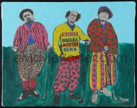 7d001 THREE STOOGES 11x14 serigraph 1990s playing golf in Hawaii by neo-pop expressionist Davo!