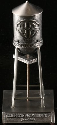 7d035 WARNER BROS promo item 1990 heavy 7 inch pewter model of the studio water tower!