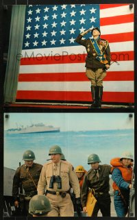 7d068 PATTON 6 color 16x20 stills 1970 includes most classic Scott & giant U.S. flag image!