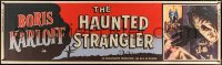 7d073 HAUNTED STRANGLER paper banner 1958 Karloff marked their death, different and ultra-rare!