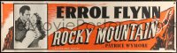 7d075 ROCKY MOUNTAIN paper banner 1950 great close up of part renegade part hero Errol Flynn with gun!