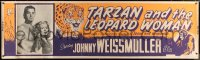 7d077 TARZAN & THE LEOPARD WOMAN paper banner R1950 great c/u of Brenda Joyce & Johnny Weissmuller!
