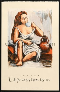 7d055 DELLA HEYWOOD 13x20 art print 1996 great art of woman drinking in a Classical Coffee Break!