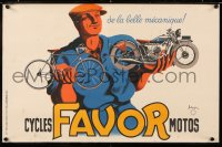 7d089 FAVOR CYCLES & MOTOS 16x24 French advertising poster 1937 man w/motorcycle & bike, Bellenger!