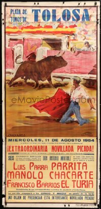 7d086 PLAZA DE TOROS DE TOLOSA 28x58 Spanish special poster 1954 bullfighting art by Saavedra!