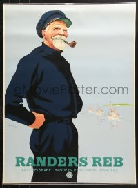7d044 RANDERS REB 24x33 Danish advertising poster 1949 great art of sailor smoking pipe!