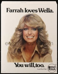 7d041 FARRAH FAWCETT standee 1970s smiling portrait, she loves Wella hair products & you will too!