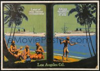 7d042 LOS ANGELES CAL linen 19x27 travel poster 1920s travel to Honolulu on steam ships, rare!