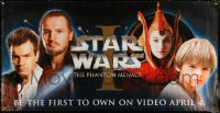 7d115 PHANTOM MENACE video vinyl banner 1999 George Lucas, Star Wars Episode I, art by Drew Struzan