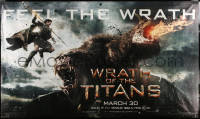 7d031 WRATH OF THE TITANS vinyl banner 2012 image of Sam Worthington vs enormous titan!