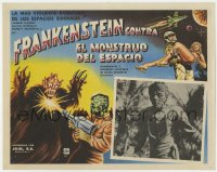 7g042 FRANKENSTEIN MEETS THE SPACE MONSTER Mexican LC 1965 great monster art, beware their stare!