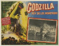 7g043 GODZILLA Mexican LC 1956 Gojira, great rubbery monster special effects scene & border art!