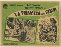 7g044 JUNGLE PRINCESS Mexican LC 1936 Dorothy Lamour, Milland, cool image and art of tiger & snake!