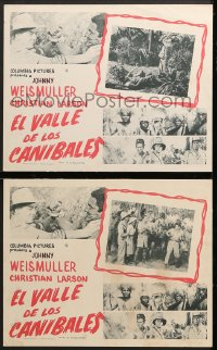 7g037 VALLEY OF HEAD HUNTERS 2 English Mexican LCs 1953 Johnny Weismuller as Jungle Jim, w/ Tamba the Chimp!