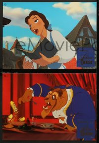 7g061 BEAUTY & THE BEAST 12 foil German LCs 1992 Walt Disney cartoon classic, great images!