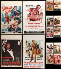 7m383 LOT OF 14 FORMERLY FOLDED VERTICAL BELGIAN POSTERS 1950s-1970s from a variety of movies!