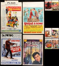 7m380 LOT OF 18 FORMERLY FOLDED VERTICAL BELGIAN POSTERS 1950s-1970s from a variety of movies!
