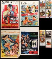 7m378 LOT OF 20 FORMERLY FOLDED VERTICAL BELGIAN POSTERS 1950s-1970s from a variety of movies!