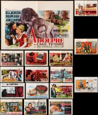 7m382 LOT OF 16 FORMERLY FOLDED HORIZONTAL BELGIAN POSTERS 1960s-1970s from a variety of movies!