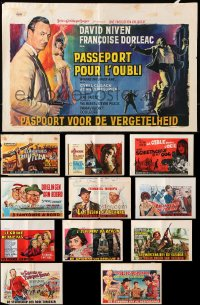 7m385 LOT OF 12 FORMERLY FOLDED HORIZONTAL BELGIAN POSTERS 1950s-1960s from a variety of movies!