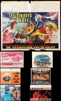 7m387 LOT OF 8 FORMERLY FOLDED HORIZONTAL BELGIAN POSTERS 1960s from a variety of movies!