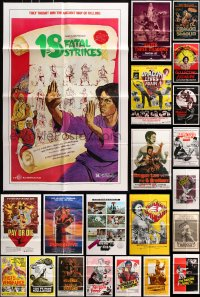 7m171 LOT OF 39 FOLDED KUNG FU ONE-SHEETS 1970s-1980s great images from martial arts movies!
