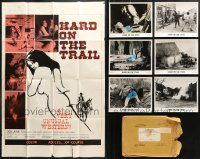 7m188 LOT OF 1 FOLDED HARD ON THE TRAIL ONE-SHEET AND 6 8X10 STILLS 1972 western sexploitation!