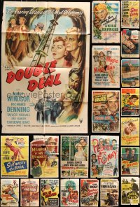 7m180 LOT OF 23 FOLDED ONE-SHEETS 1930s-1950s great images from a variety of different movies!