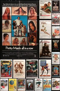7m153 LOT OF 67 FOLDED ONE-SHEETS 1970s-1980s great images from a variety of different movies!