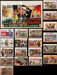 7m379 LOT OF 20 FORMERLY FOLDED HORIZONTAL BELGIAN POSTERS 1960s-1980s from a variety of movies!