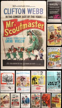 7m181 LOT OF 22 FOLDED ONE-SHEETS 1940s-1970s great images from a vareity of different movies!