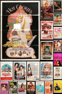 7m164 LOT OF 52 FOLDED SEXPLOITATION ONE-SHEETS 1970s-1980s sexy images with some nudity!