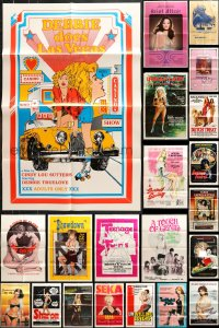 7m168 LOT OF 46 FOLDED SEXPLOITATION ONE-SHEETS 1970s-1980s sexy images with some nudity!