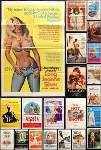 7m160 LOT OF 55 FOLDED SEXPLOITATION ONE-SHEETS 1970s-1980s sexy images with some nudity!