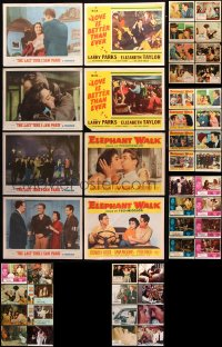 7m206 LOT OF 54 ELIZABETH TAYLOR LOBBY CARDS 1950s-1970s great scenes from several of her movies!