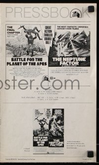 7s078 BATTLE FOR THE PLANET OF THE APES/NEPTUNE FACTOR pressbook 1973 great action thriller double bill!
