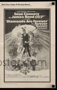 7s176 DIAMONDS ARE FOREVER pressbook 1971 McGinnis art of Sean Connery as James Bond 007!