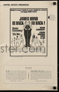 7s181 DR. NO/FROM RUSSIA WITH LOVE pressbook 1965 Sean Connery is James Bond, danger & excitement!