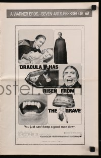 7s182 DRACULA HAS RISEN FROM THE GRAVE pressbook 1969 Hammer, Christopher Lee as the vampire!