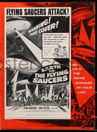 7s185 EARTH VS. THE FLYING SAUCERS pressbook 1956 sci-fi classic, cool art of UFOs & aliens!