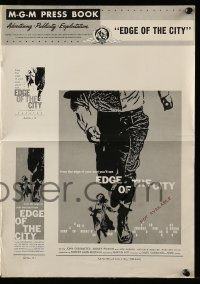 7s189 EDGE OF THE CITY pressbook 1956 Cassavetes, Poitier, lots of Saul Bass artwork throughout!