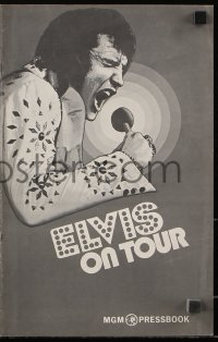 7s191 ELVIS ON TOUR pressbook 1972 classic artwork of Elvis Presley singing into microphone!