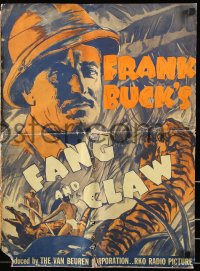 7s202 FANG & CLAW pressbook 1935 great artwork of Frank Buck surrounded by India's jungle animals!