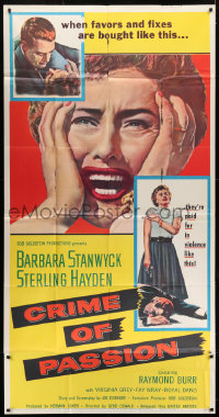 7t201 CRIME OF PASSION 3sh 1957 different image of horrified Barbara Stanwyck & Sterling Hayden!
